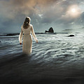 Lady Wading Into The Sea In The Early Morning by Jill Battaglia