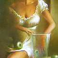 Lady With Green Apples by Vali Irina Ciobanu