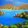Lake  Aviemore - - Fine Art Impressionist Serenity Landscape by Shasta Eone