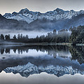 Lake Matheson In Predawn Winter Light by Colin Monteath