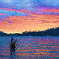 Lake Quinault Sunset - Impressionism by Heidi Smith