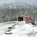 Lancaster County Covered Bridge In The Snow  by Nancy Patterson