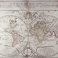 Land And Water Map Of The World by Fototeca Storica Nazionale