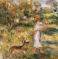 Landscape With A Woman In Blue by Pierre Auguste Renoir