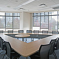 Large Empty Boardroom. A Long Narrow by Marlene Ford