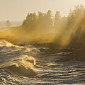 Large Waves Lightbeams Pemaquid Point Maine by Keith Webber Jr