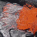 Lava Bursting At Edge Of Active Lava by Richard Roscoe