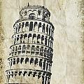 Leaning Tower Of Pisa On Old Paper by Setsiri Silapasuwanchai