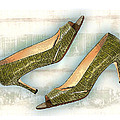 Leapin Green Lizards Pumps by Elaine Plesser
