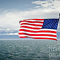 Leaving The Olympics Stars And Stripes On The Straits From The Olympic Mountains by Andy Smy