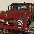 Leeser's Truck - Linocut Print by Annie Laurie