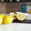 Lemons And Juicer On Kitchen Counter by Debby Lewis-Harrison