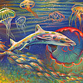 Leopard Shark And Jellyfish by Nancy Tilles