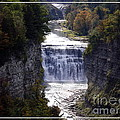 Letchworth State Park Middle Falls With Watercolor Effect by Rose Santuci-Sofranko