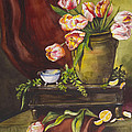 Library Table With Tulips by Toni Roark