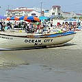 Lifeguard Boat At Ocean City Boardwalk New Jersey by Sven Migot