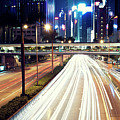 Light Trails At Traffic On Street At Night by Thank you for choosing my work.