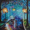 Lighted Park Path by Leslie Allen