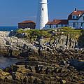 Lighthouse And Rocks by Tim Mulina