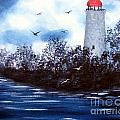 Lighthouse Blues Painterly Style by Barbara Griffin