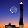 Lighthouse Crescent Moon by Larry Landolfi