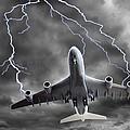 Lighting Striking An Aeroplane, Composite by Victor De Schwanberg