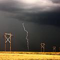 Lightning Striking Behind Saskatchewan Power Line by Mark Duffy