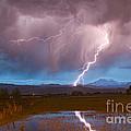 Lightning Striking Longs Peak Foothills 2 by James BO Insogna