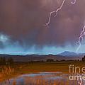 Lightning Striking Longs Peak Foothills 5 by James BO Insogna