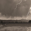 Lightning Striking Longs Peak Foothills 5bw Sepia by James BO  Insogna