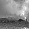 Lightning Striking Longs Peak Foothills 7cbw by James BO Insogna