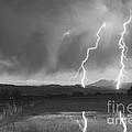 Lightning Striking Longs Peak Foothills Bw by James BO  Insogna