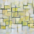 Line Series Blue And Yellow by Patricia Cleasby