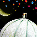 Little People Hiking On Fruits Under Starry Night by Paul Ge