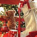 Little Teddy Bear Looking Through Chair by Sandra Cunningham
