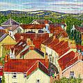 Painting Llandovery Roof Tops by Edward McNaught-Davis