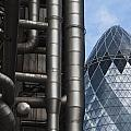 Lloyds Of London And The Gherkin Building by Andrew  Michael