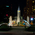 Logan Circle Fountain With City Hall At Night by Bill Cannon