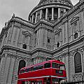 London Bus At St. Paul's by Dawn OConnor