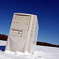 Lost Computer In Snow by Olivier Le Queinec