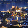 Lucerne At Night From Above by George Oze