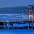 Mackinac Bridge In Evening by Twenty Two North Photography