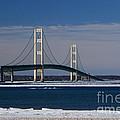 Mackinac Bridge In Winter 2 by Grace Grogan
