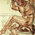Male Nude Figure Drawing Sketch With Power Dynamics Struggle Angst Fear And Trepidation In Charcoal by MendyZ M Zimmerman