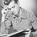 Male Student Reading, (b&w), by George Marks