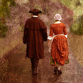 Man And Woman In 18th Century Clothing Walking by Jill Battaglia