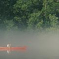 Man Paddling Canoe In Mist, Roanoke by Skip Brown