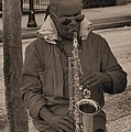 Man Playing His Saxophone by Donna Brown