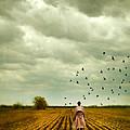 Man Walking In A Farm Field by Jill Battaglia