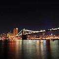 Manhattan Nightscape With Brooklyn Bridge by Kean Poh Chua